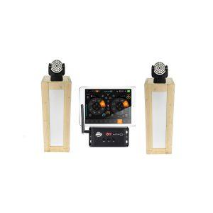 Lichtset: 2x steigerhouten sokkels (110 cm) met 2x Martin Mac 101 movingheads, en controler