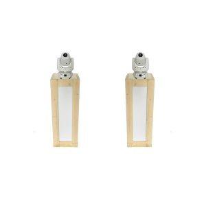 Lichtset: 2x steigerhouten sokkels (110 cm) met LED verlichting en 2 witte Movingheads