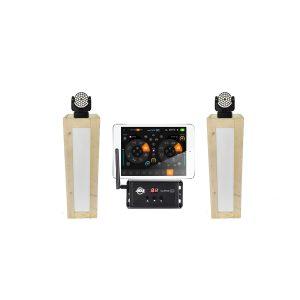 Lichtset: 2x steigerhouten sokkels (130 cm) met 2x Martin Mac 101 movingheads, en controler