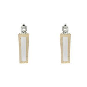 Lichtset: 2x steigerhouten sokkels (130 cm) met LED verlichting en 2 witte Movingheads