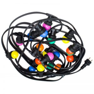 Prikkabel, 10 meter incl 19x gekleurde 1 Watt Led lampjes