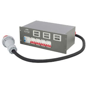 PSA-63A4C, 63A => 4x 32A Power distri, met Voltage- en Ampere meter
