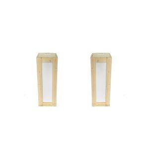 Set 2x Steigerhouten sokkel 110 cm hoog, incl ingebouwd LED licht